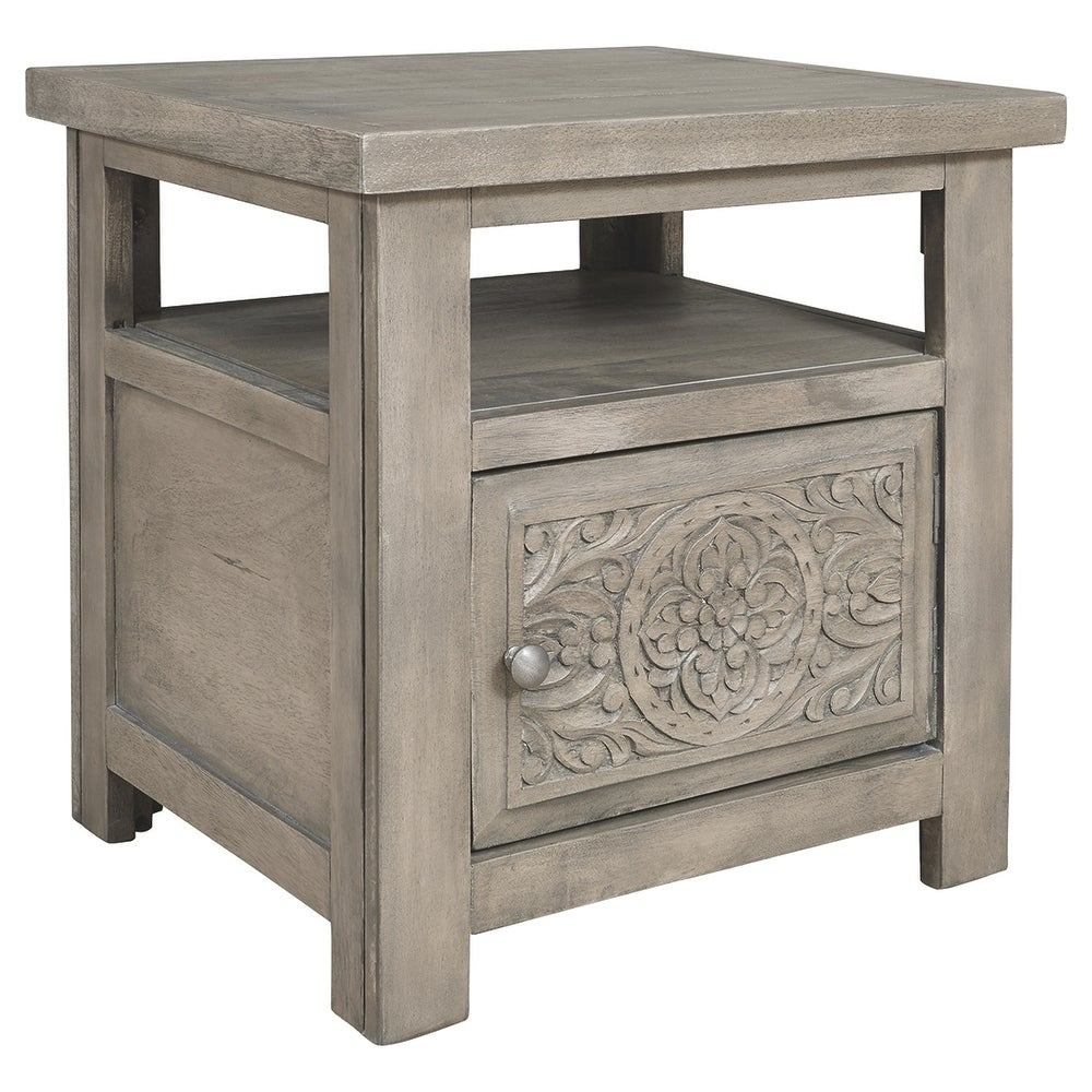1 Cabinet Rectangular End Table with Engraved Medallion Pattern,Taupe Gray (Grey Wood)