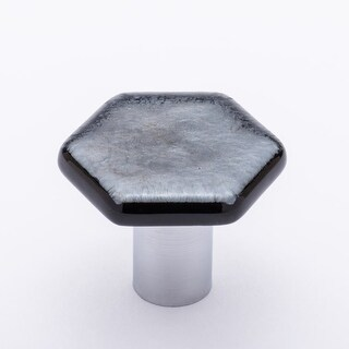 Sietto K-1702 1-1/4 Inch Hexagon Cabinet Knob with Irid Silver Black Glass