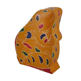 Colorful Embossed Leather Frog Hand Crafted Coin Bank (Option: YELLOW)