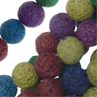 Dyed Natural Lava Gemstone Beads, Round 12mm, 1 Strand, Bright Mixed Colors