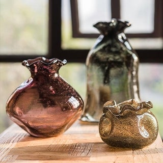 RusticReach Hand Blown Glass Vase Bubble Pocket
