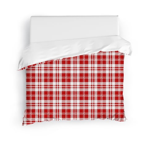 COZY PLAID RED Duvet Cover by Kavka Designs