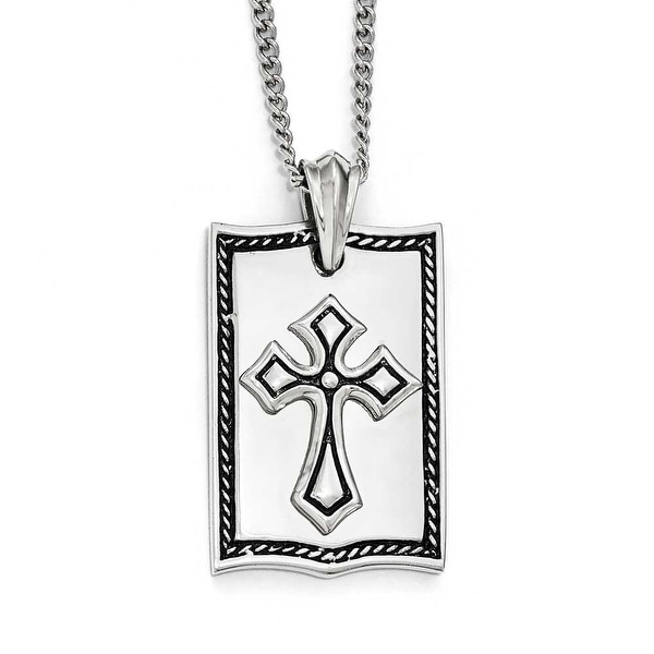Chisel Stainless Steel Antiqued Cross Dogtag Necklace - 24 in