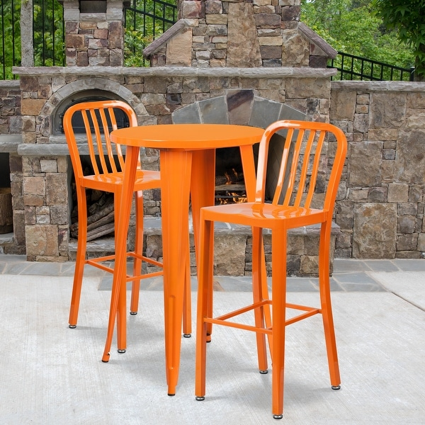 "2 Pack 30"" High Metal Indoor-Outdoor Barstool with Vertical Slat Back"