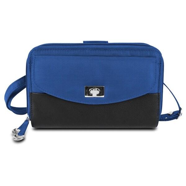 Travelon SafeID Accent Double Zip Clutch Wallet, Cobalt