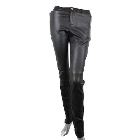 Gucci Women's Leggings Black Lamb Leather Stretch Pants 356036