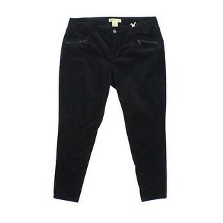 Democracy Black Women's Size 16W Plus Zip Pocket Velvet Crop Pants