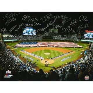 2016 Chicago Cubs Team 2016 World Series American Flag On Wrigley Field 16x20 Photo 24 Sigs