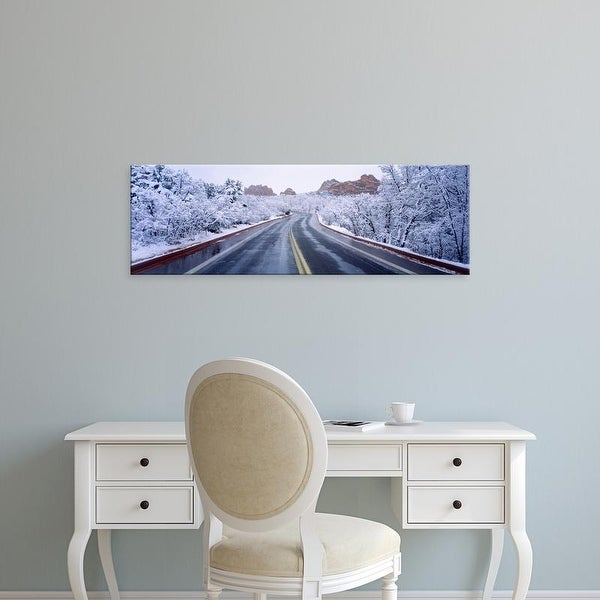 Easy Art Prints Panoramic Image 'Road, South Gateway Rock, Garden of the Gods, Colorado Springs, Colorado' Canvas Art