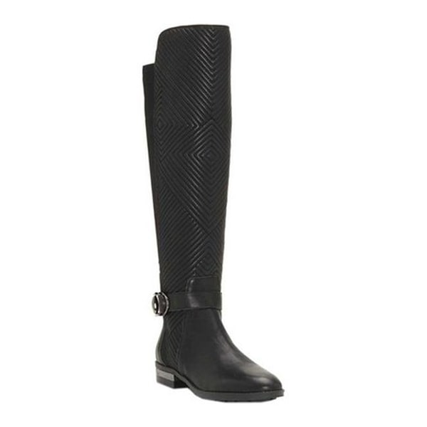 0f68784fc8c3 Vince Camuto Women  x27 s Pordalia Knee High Boot Black Silky  Leather Stretch