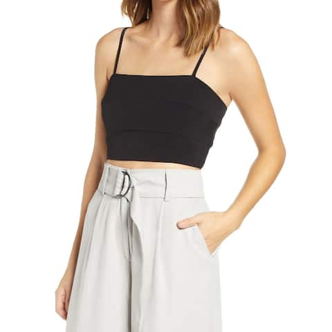 Leith Deep Black Womens Size Small S Straight-Neckline Crop Top