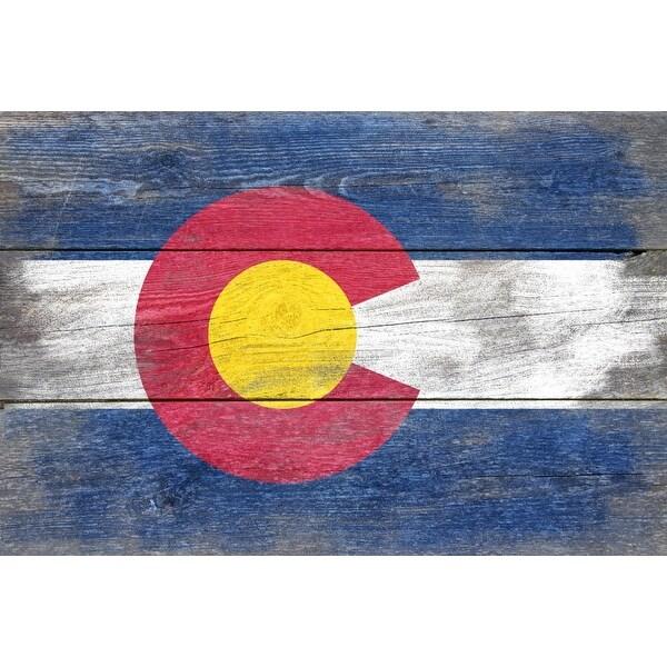 Rustic Colorado State Flag - LP Artwork (Acrylic Wall Clock)