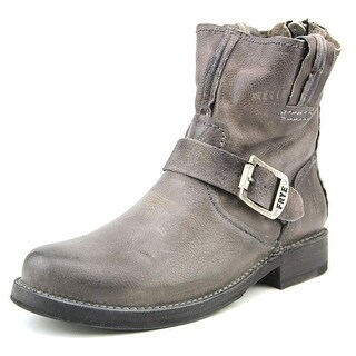 Frye Vicky Artisan Back Zip-Tufg Women Round Toe Leather Gray Mid Calf Boot