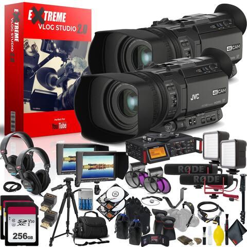 JVC GY-HM170UA 4KCAM Compact Professional Camcorder with Top Handle Audio Unit Extreme Vlogging Studio 2.0 - Multi-Camera Setup