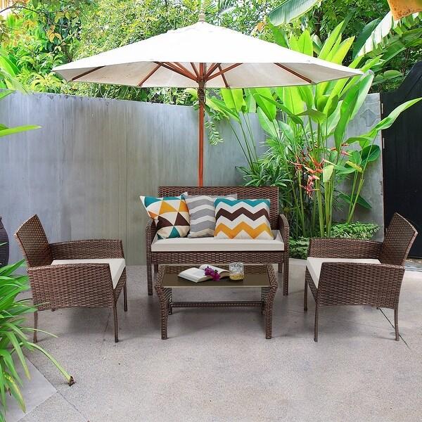 Coffee Table Garden Set: Shop Costway 4 Pieces Patio Furniture Wicker Rattan Sofa