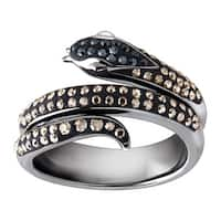 Crystaluxe Snake Ring with Black & Silver Mist Swarovski Crystals in Black Rhodium-Plated Sterling Silver - grey