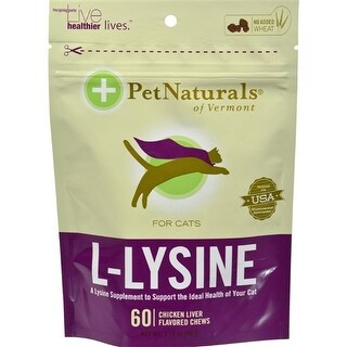 Pet Naturals of Vermont L-Lysine for Cats Chicken Liver - 60 Chewables Pet Supplements