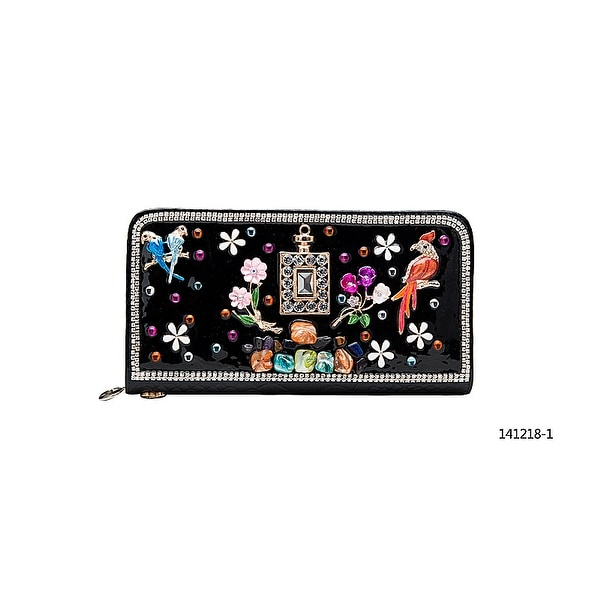 Becool Rhinestone Enamel & Gem Zip Around Wallet