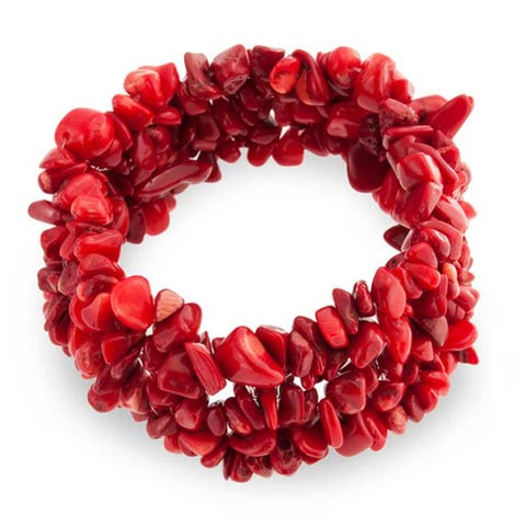 Red Imitation Coral Chip Stone Wide Chunky Cluster Multi Strand Stretch Bracelet For Women