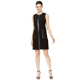 Calvin Klein Faux Leather Trim Pocket Sleeveless Shift Dress