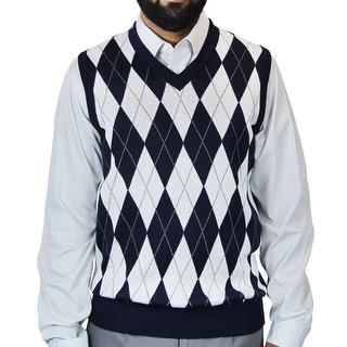 Men's Argyle Jacquard Sweater Vest (Option: Red)