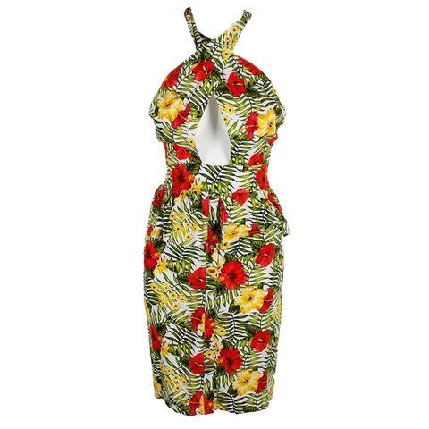 Xoxo Juniors Green Multi Sleeveless Printed Halter Peplum Dress S
