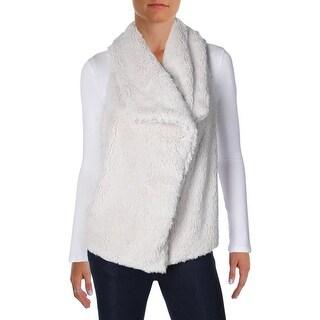 BB Dakota Womens Albion Casual Vest Faux Fur Knit
