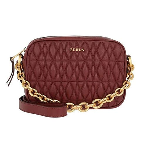 Furla Womens Cometa Ciliegia Burgundy Leather Crossbody Bag Large
