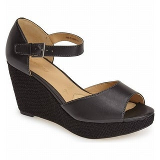 Trotters NEW Black Women's Shoes Size 7.5N Amber Wedge Sandal