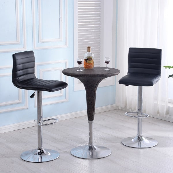 Bar Stool Set Of 2 Adjustable Height Seat Chair Swivel: Shop Belleze Set Of (2) Faux Leather Hydraulic Swivel Gas