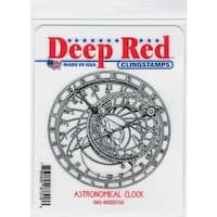 Deep Red Stamps Astronomical Clock Rubber Cling Stamp - 3.1 x 3