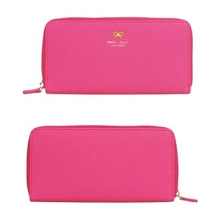 Little Bow Clutch Style Travel Wallet with Pull Zipper - Pink