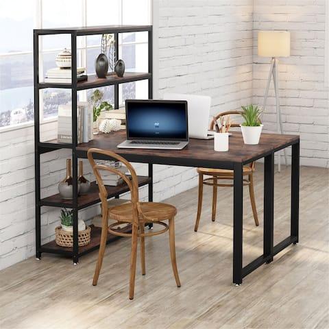 "90"" Computer Desk with Hutch Shelves, Two Person Desk Workstation Desk"