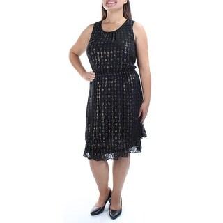 MAISON JULES $129 Womens New 1407 Black Sleeveless Fit + Flare Dress XL B+B