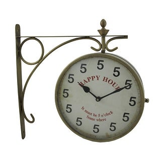 5 O'Clock Happy Hour Double Sided Clock On Scroll Bracket
