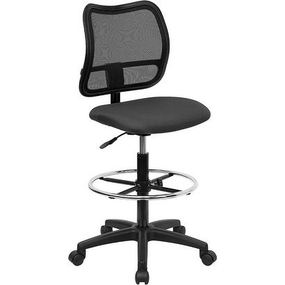 Offex Mid-Back Mesh Drafting Stool with Gray Fabric Seat [OF-WL-A277-GY-D-GG]