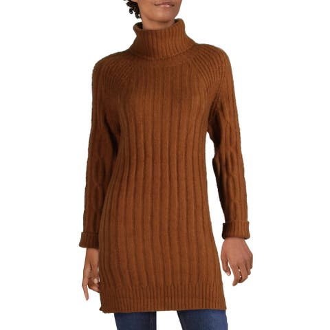 RD Style Womens Tunic Sweater Ribbed Knit Drapey - Copper