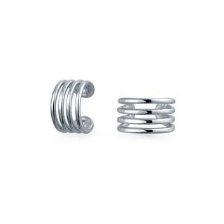 Bling Jewelry Modern Lines Geometric 925 Sterling Silver Ear Cuff Wrap