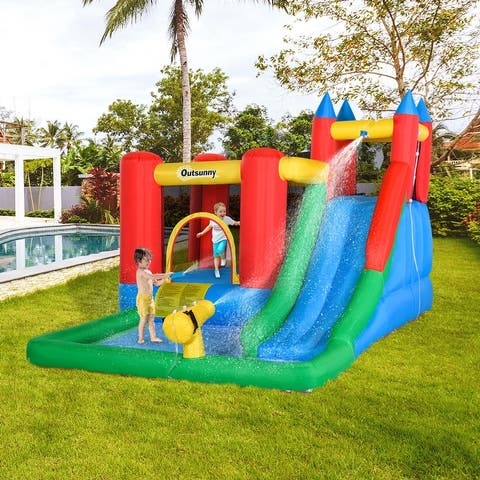 Outsunny 6-in-1 Kids Inflatable Bounce House Jumping Castle with Slide, Water Pool, & Climbing Wall, Inflator Included