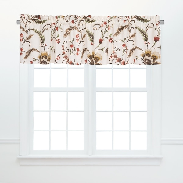 """Set of 2 Red and Brown Autumn Bloom Valance Curtains with Rod Sleeve 72"""" - N/A"""
