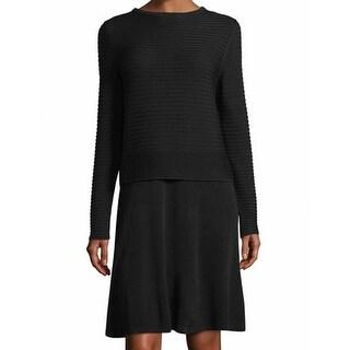 Lafayette 148 New York NEW Black Womens Size Medium M Sweater Dress