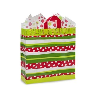 "Pack Of 100, Queen 16 X 6 X 16"" Christmas Celebration Stripe 3 Mil Hdpe Plastic Shopping Bags W/6 Mil Soft Loop Handle"