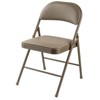 Beige Vinyl Upholstered Commercialine Steel Folding Chairs