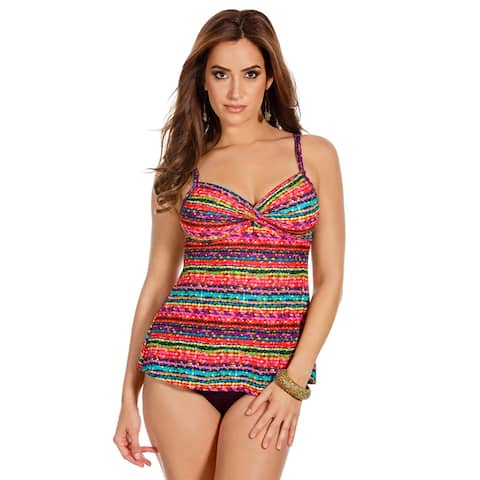 Miraclesuit Womens Night Lights Roswell Underwire Tankini Top 12 Multi