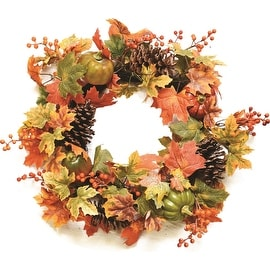"20"" Autumn Harvest Decorative Artificial Fall Leaves Pinecones Pumpkins and Berries Wreath - Unlit"