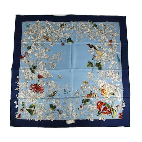 Gucci Women's Blue Silk Wonder Garden Large Scarf 494602 4868