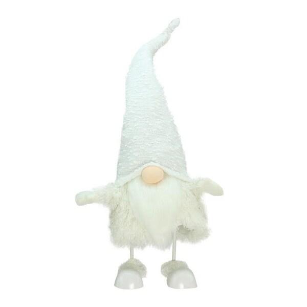 "24"" Pure White ""Sparkling Saul"" Bobble Action Gnome Christmas Decoration"