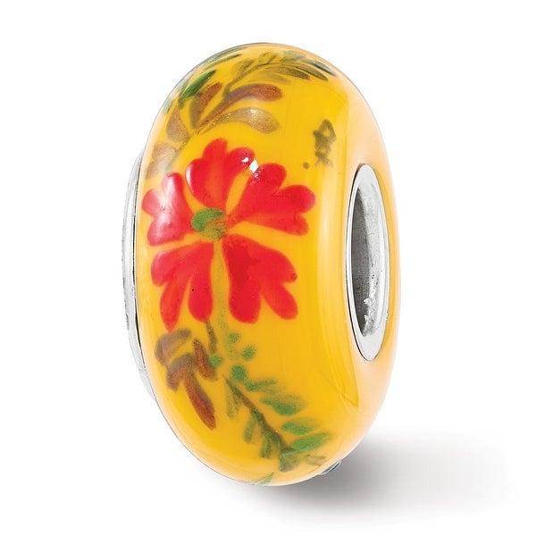 Sterling Silver Reflections Red Hibiscus Yellow Fenton Glass Bead (4.5mm Diameter Hole)