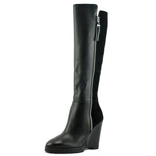 MICHAEL Michael Kors Womens Clara Wedge Leather Closed Toe Knee High Fashion ...