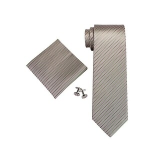 Men's Pink, Green Small Grid 100% Silk Neck Tie Set Cufflinks & hanky 18A67